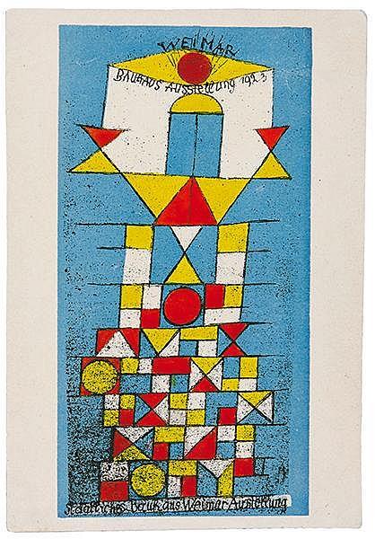 Bauhaus - - Klee, Paul. Die erhabene Seite. Farbige Lithographie auf Postka