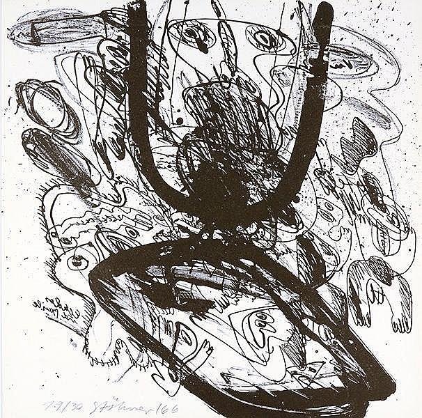 Stöhrer, Walter. Ohne Titel. Mappe mit 7 signierten und datierten Lithograp