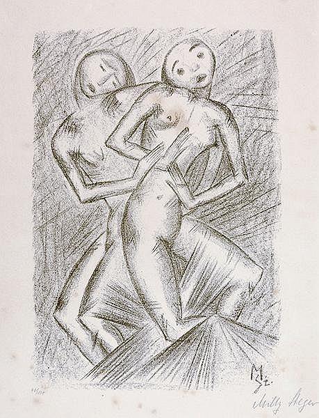 Steger, Milly. Ohne Titel (Tanzende weibliche Akte). Lithographie auf Velin