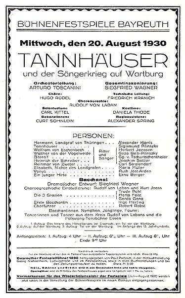 Typographie - - Bühnenfestspiele Bayreuth. Mittwoch, den 20. August 1930. T