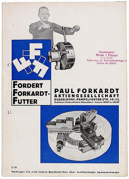 Typographie - - Burchartz, Max. Fordert Forkardt Futter. Zweifarbiger Werbe