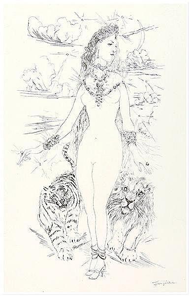 Foujita, Tsuguharu. Ohne Titel (Weiblicher Akt mit Tiger und Löwe). Aus:
