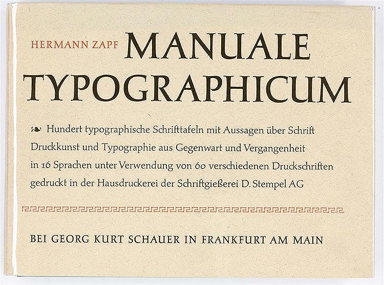 Typographie - - Zapf, Hermann. Manuale Typographicum. Mit 100 Tafeln. Frank