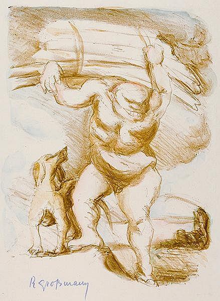 Grossmann, Rudolf. Holzfäller mit Hund. Kolorierte Lithographie auf Marées.