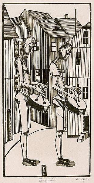 Marcks, Gerhard. Trommler. Holzschnitt auf Velin. Rechts unten monogrammier
