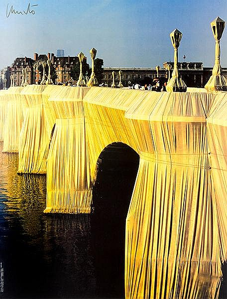 Christo. The Pont Neuf Wrapped, Paris, 1975.85. 3 Farboffsetdrucke mit Gele