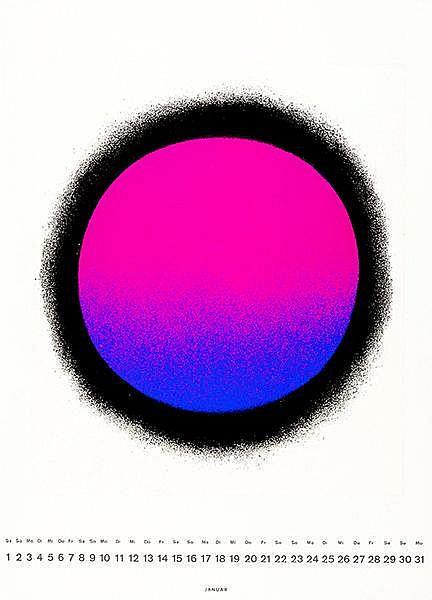 Geiger, Rupprecht. Schwarz gerundet/blau-violett-schwarz. Farbserigraphie a