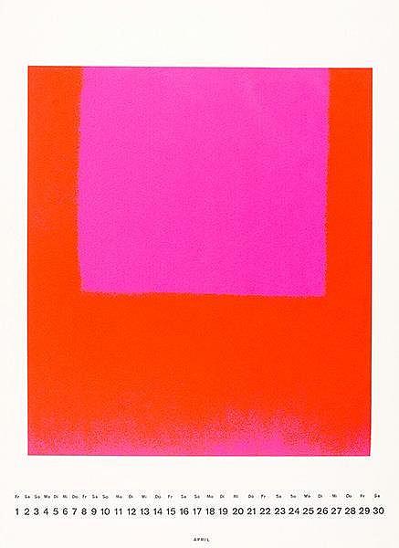 Geiger, Rupprecht. Leuchtrot kalt auf leuchtrot orange. Farbserigraphie auf