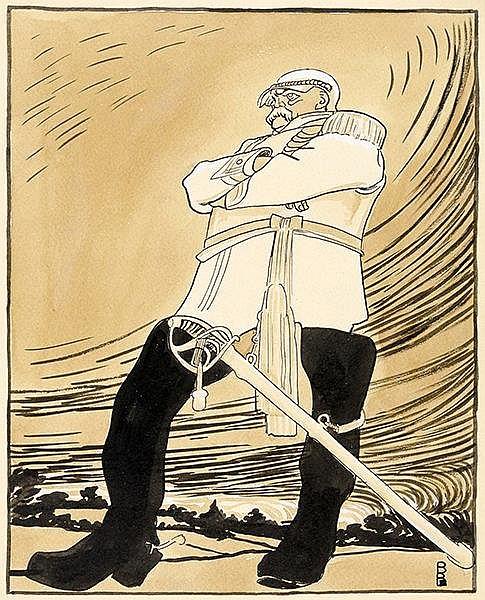Karikatur - - Paul, Bruno. Denkmalsenthüllung (Fürst Bismarck in Siegerpose