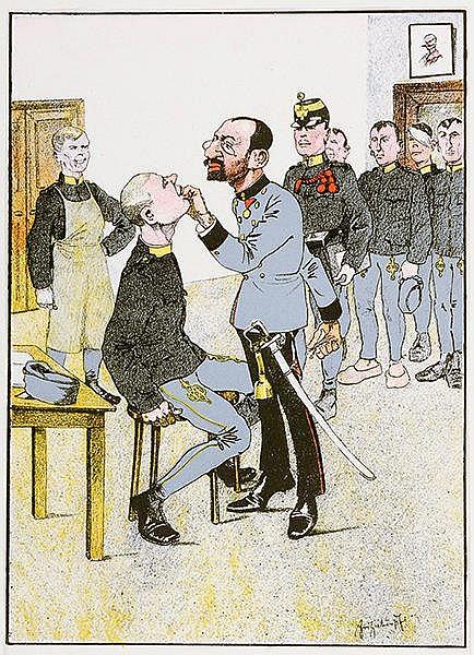 Karikatur - - Schönpflug, Fritz. Sammlung von 9 (8 farbigen) Farblithograph