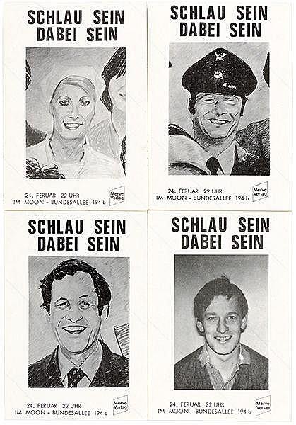 Kippenberger, Martin. Schlau sein - Dabei sein. Vierteiliges Multiple in Fo