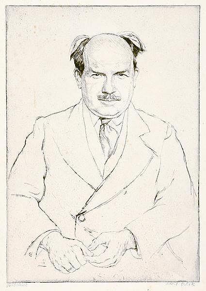 Orlik, Emil. Porträt des Pianisten und Komponisten Eugen d'Albert. Radierun