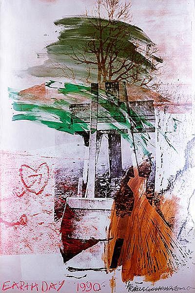 Rauschenberg, Robert. Earth Day. Farbige Offset-Lithographie auf Papier. Im