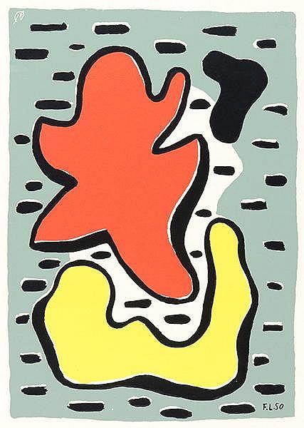 Léger, Fernand. Composition (Figures rouge et jaune). Farbserigraphie auf V