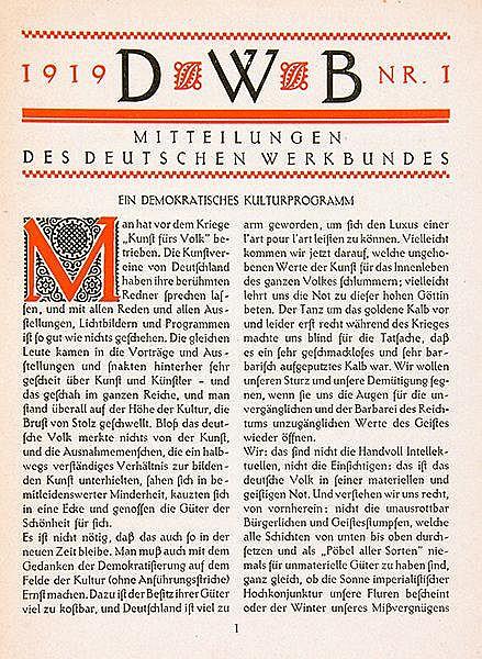 Werkbund - - Mitteilungen des Deutschen Werkbundes. Jahrgang 1919, Hefte 1-