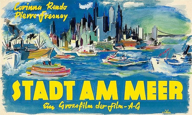 Plakate - - Strässer, Herbert. Stadt am Meer. Ein Grossfilm der Film AG. Fa