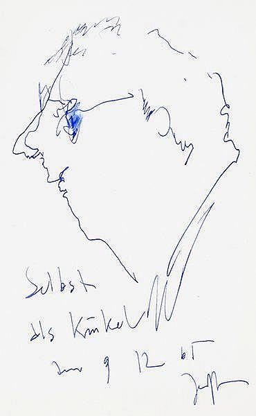 Janssen, Horst. Selbst als Kinkel. Tintezeichnung. Unten mittig signiert, d