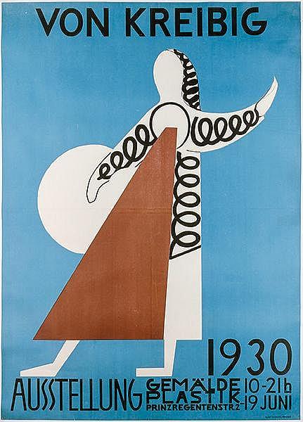 Plakate - - Kreibig, Erwin von. Von Kreibig. Ausstellung 1930. Gemälde. Pla