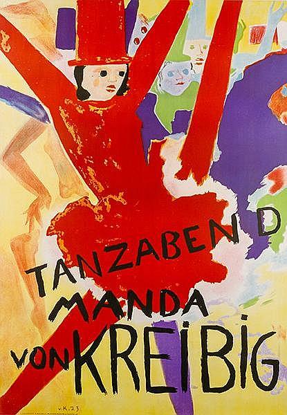 Plakate - - Kreibig, Erwin von. Tanzabend Manda von Kreibig. Farbig lithogr