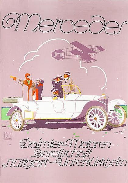 Plakate - - Hohlwein, Ludwig. Mercedes. Farbiges Plakat. Offset. Numerische