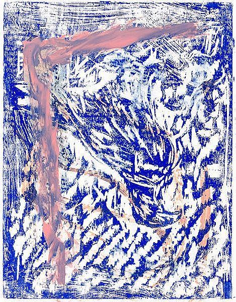 Baselitz, Georg. Adler. Übermalter Farbholzschnitt auf Werkdruckpapier und