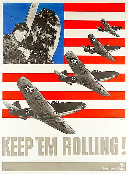 Plakate - - Lionni, Leo. Keep them rolling (Flugzeuge). Farbiges Plakat. Of