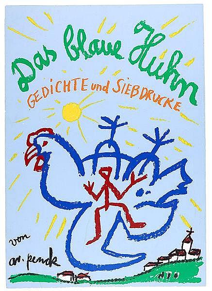 Penck, A. R. Das blaue Huhn. Leporello mit 7 doppelblattgroßen Original-Ser