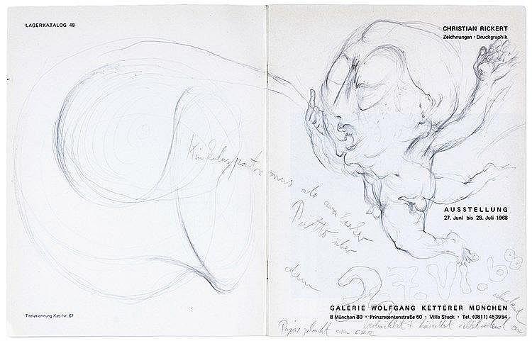 Rickert, Christian. Sammlung von 3 Katalogen, alle mit monogrammierter Orig