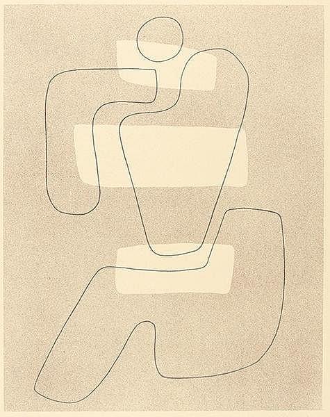 Baumeister, Willi. Linienfigur mit hellen Flächen. Lithographie auf chamois