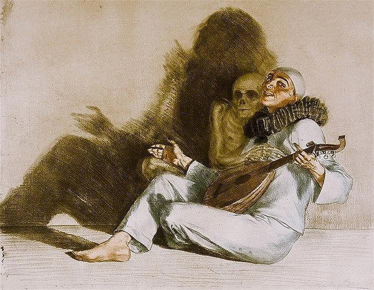Saliger, Ivo. Ohne Titel (Harlekin und der Tod). Farbradierung auf Velin. R