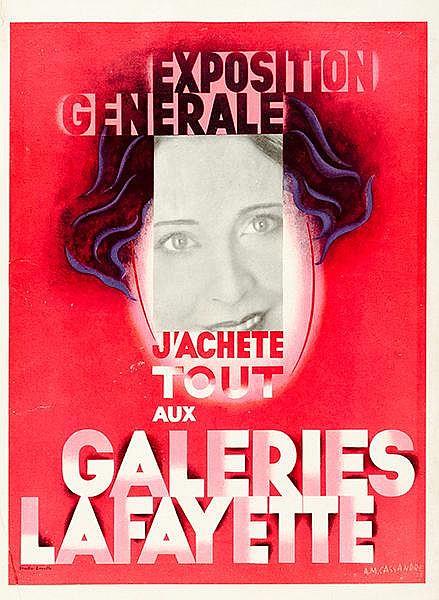 Plakate - - Cassandre, A. M. Exposition Generale. J'achète tout aux Galerie