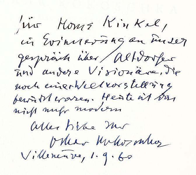 Kokoschka, Oskar - - Sammlung von 6 Widmungsexemplaren. 1946-1970. Untersch