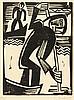 Schmidt-Rottluff, Karl. Fischer beim Aalstechen. Holzschnitt auf Papier. Re, Karl Schmidt-Rottluff, €1,600
