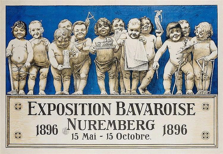 Plakate - - Riemerschmid, Richard. Exposition Bavaroise Nuremberg 1896. Far
