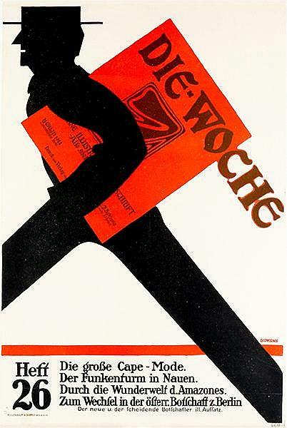 Plakate - - Gipkens, Julius. Die Woche. Zweifarbig lithographiertes Plakat.