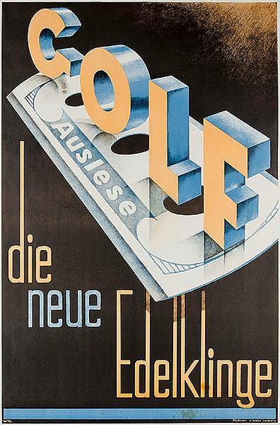 Plakate - - Golf Auslese - Die neue Edelklinge . Farbig lithographiertes Pl