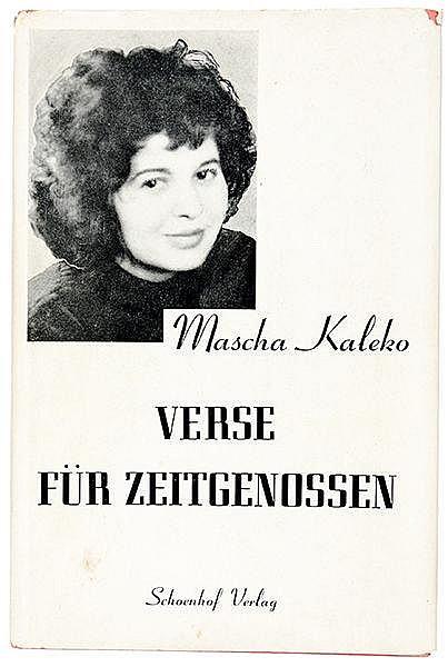 Exilliteratur - - Kaléko, Mascha. Verse für Zeitgenossen. Cambridge, Schoen