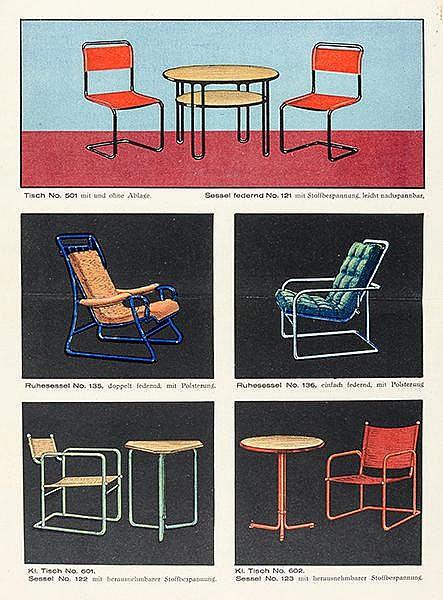 Bauhaus - - Cesta. Celler Stahlrohrmöbel. Eduard Schulz, Celle. Mit 13 farb