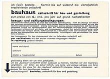 Bauhaus - - Bauhaus. Zeitschrift für Bau und Gestaltung. Postkarte. Dessau,