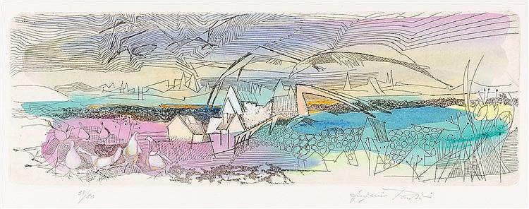 Pardini, Euginio. La Valle del Reno. Mappe mit 5 aquarellierten Radierungen