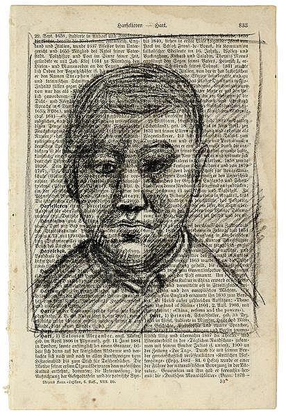 Penck, A.R. Ohne Titel (Porträt). Kohle auf Lexikonseite. Wohl 1961. Blattg