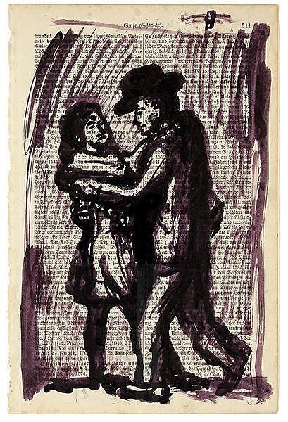 Penck, A.R. Ohne Titel (Tanzendes Paar). Tusche auf Lexikonseite. Wohl 1961