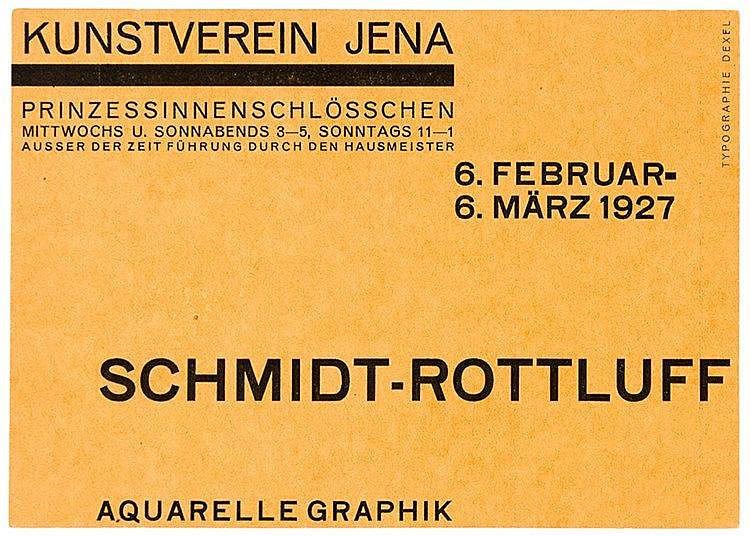 Bauhaus - - Dexel, Walter. Schmidt-Rottluff. Aquarelle Graphik. Einladungsk