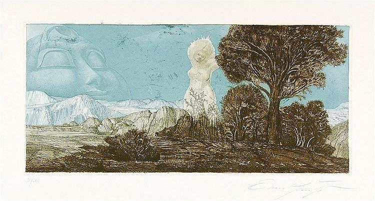 Fuchs, Ernst. Zyklopische Landschaft. Farbradierung auf Velin. Rechts unten