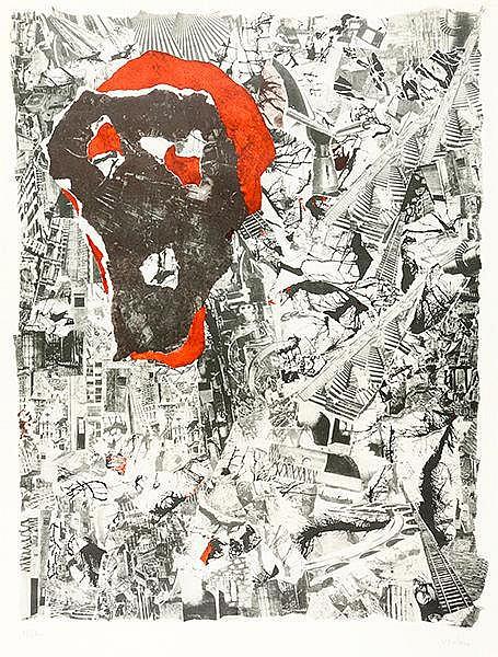 Verlon, André. Ohne Titel (Collage). Farblithographie auf Papier. Rechts un