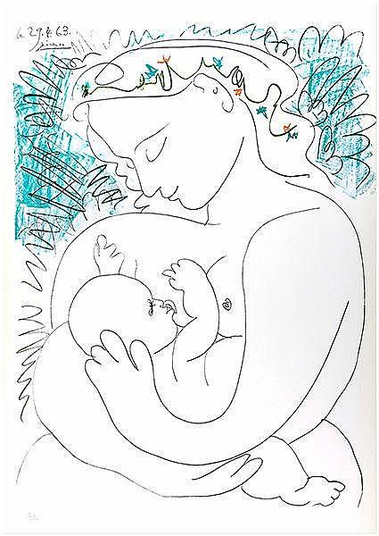 Picasso, Pablo. La grande Maternité. Farblithographie auf Velin. Links unte