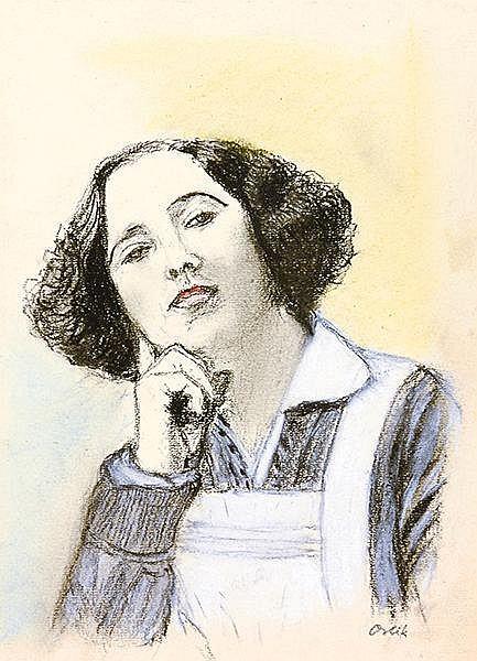 Orlik, Emil. Porträt Claire Waldoff. Kohlestift- und Wachskreidezeichnung a