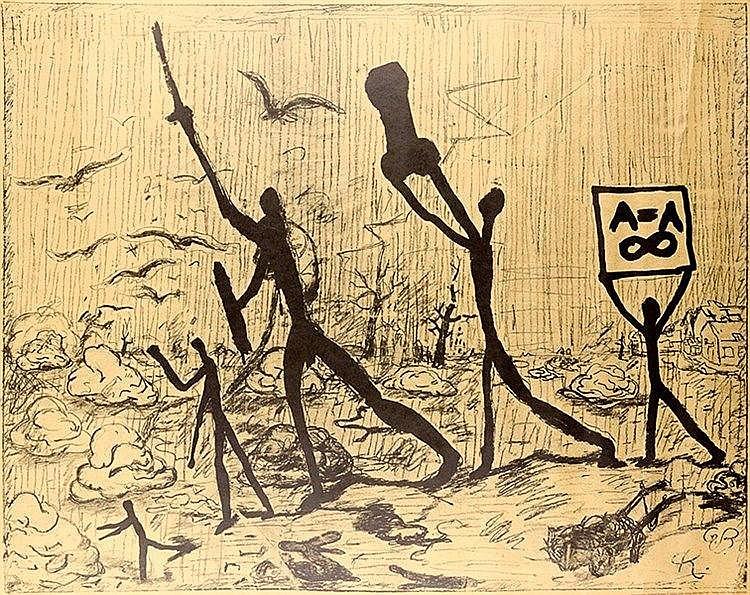 Penck, A.R. und Georg Baselitz. Ohne Titel. Offset-Lithographie auf braunem