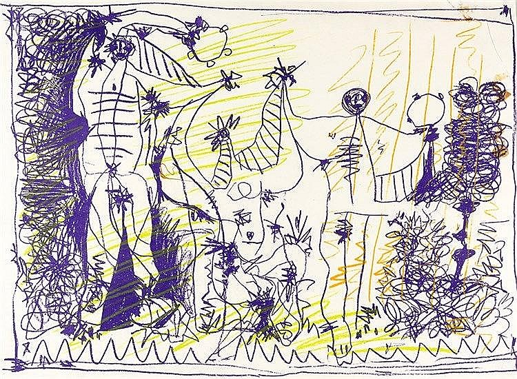 Picasso, Pablo. Bacchanale. Affiche pour l'exposition 1957. Farblithographi