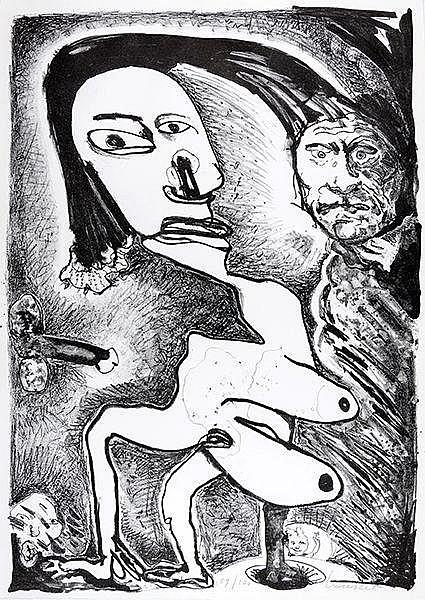 Mappenwerk - - Kunst und Literatur. Mit 4 Graphiken von Lucebert, Ionesco,